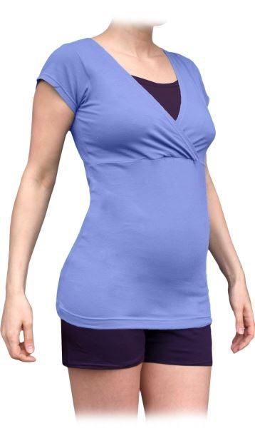 Tehotenské-dojčiace pyžamo, krátke - orgován-slivka