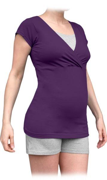 JOŽÁNEK Tehotenská-dojčiace pyžamo, krátke - slivka/sivý melír, vel´. L/XL-L/XL