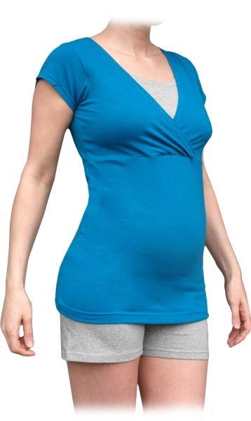 JOŽÁNEK Tehotenská-dojčiace pyžamo, krátke - tm.tyrkys/ sivý melír-#Velikosti těh. moda;S/M