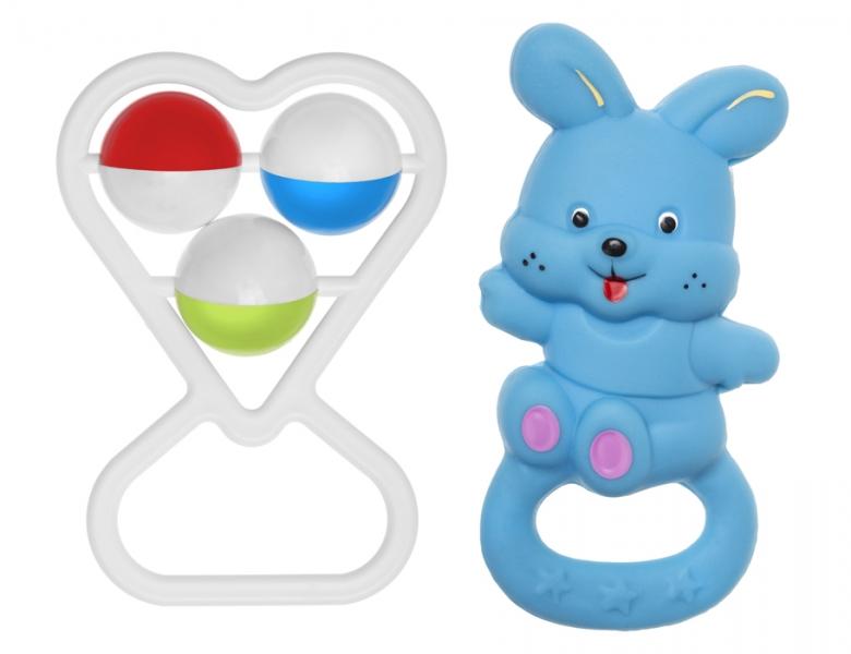 Veselé hryzátka s hrkálkou v piatich farebných variantoch