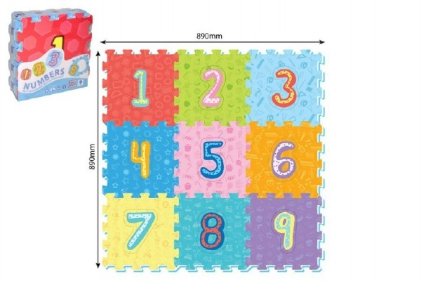 Teddies Penové puzzle číslica 9ks 32x32cm 10m +