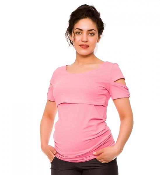 Tehotenské a dojčiace tričko Lena - růžové, vel´. S-S (36)