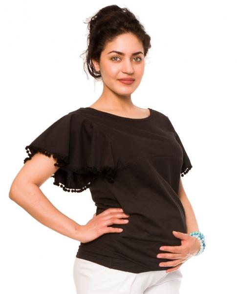 Tehotenské tričko/blúzka Sofie - čierne