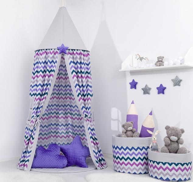 Mamo Tato Stan pre deti, závesný stan - fialový cik cak / sivý