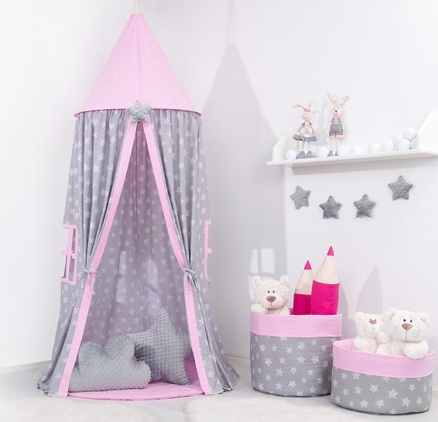 Mamo Tato Stan pre deti, závesný stan - hviezdičky na šedom / ružový