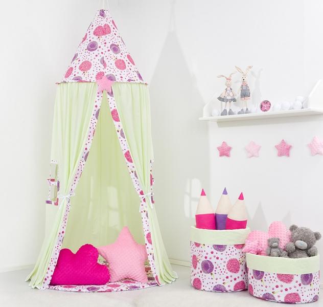 Mamo Tato Stan pre deti, závesný stan - mätový / púpavy ružové