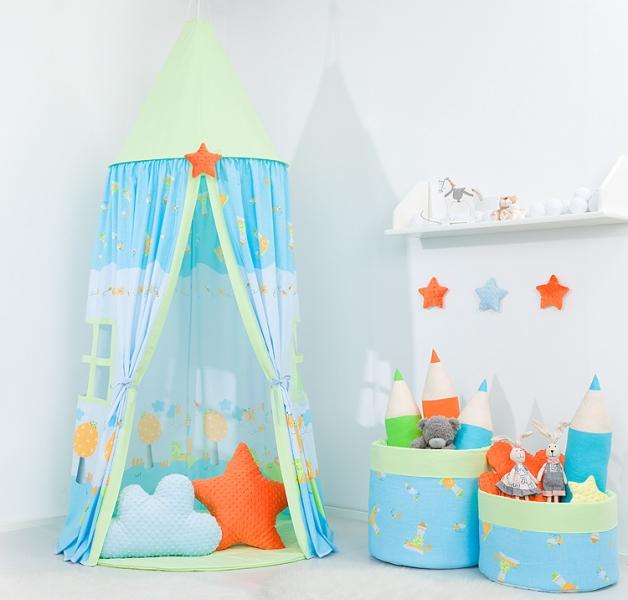 Mamo Tato Stan pre deti, závesný stan - šnek modrý / zelený