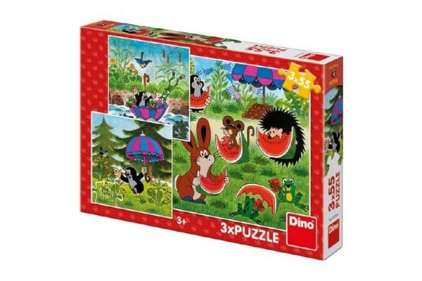 Teddies Puzzle Krtko a paraplíčko 18x18cm 3x55 dielikov v krabici 27x19x3,5cm