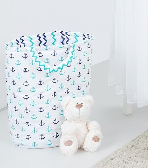 Mamo Tato Box na hračky - obojstranný. Farba: kotvy / cik cak granátová