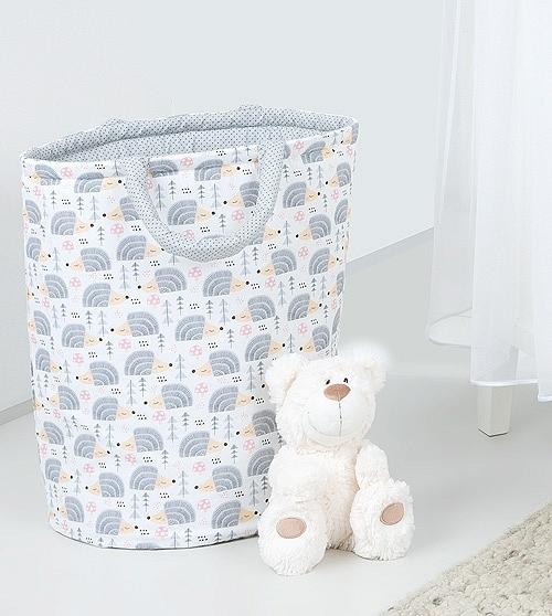 Mamo Tato Box na hračky - obojstranný. Farba: ježko sivý / mini bodky sivé