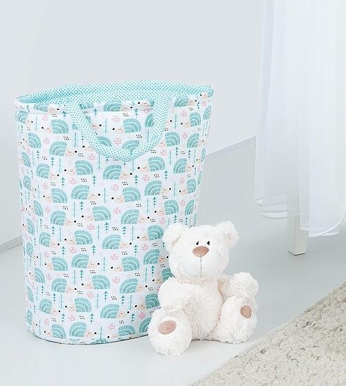 Mamo Tato Box na hračky - obojstranný. Farba: ježko tyrkys / mini bodky tyrkys