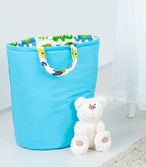 Mamo Tato Box na hračky - obojstranný. Farba: modrá / zelený slon