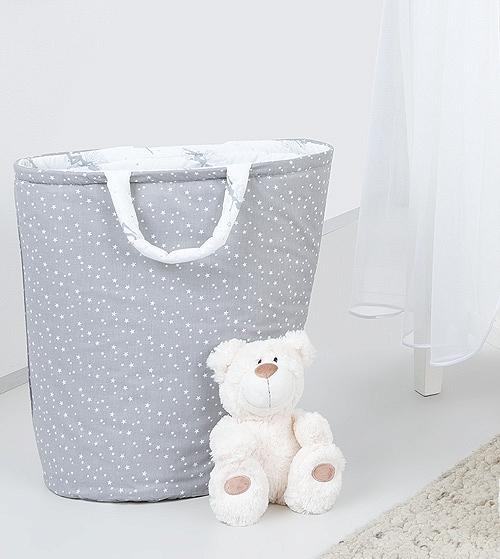 Mamo Tato Box na hračky - obojstranný. Farba: hviezdičky biele na šedom / sivé víly