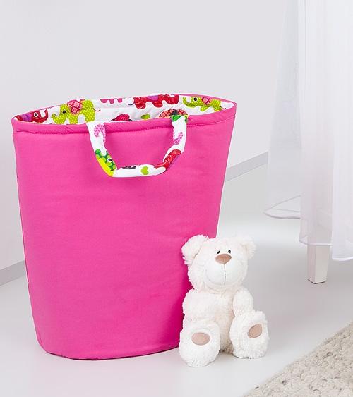 Mamo Tato Box na hračky - obojstranný. Farba: malina / ružové slony