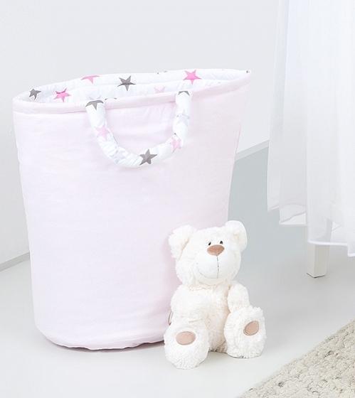 Mamo Tato Box na hračky - obojstranný. Farba: ružová / hviezdičky šedej a ružovej D