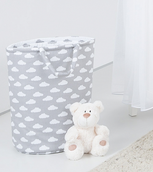 Box na hračky - obojstranný. Farba: mráčik biely / mráčik šedý