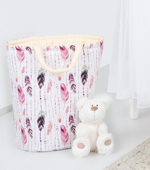 Mamo Tato Box na hračky - obojstranný. Farba: ružové perie / krémový