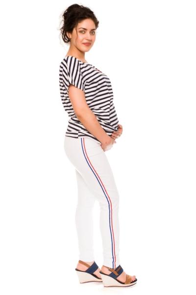 Tehotenské nohavice/jeans s prúžkom Tommy - biele