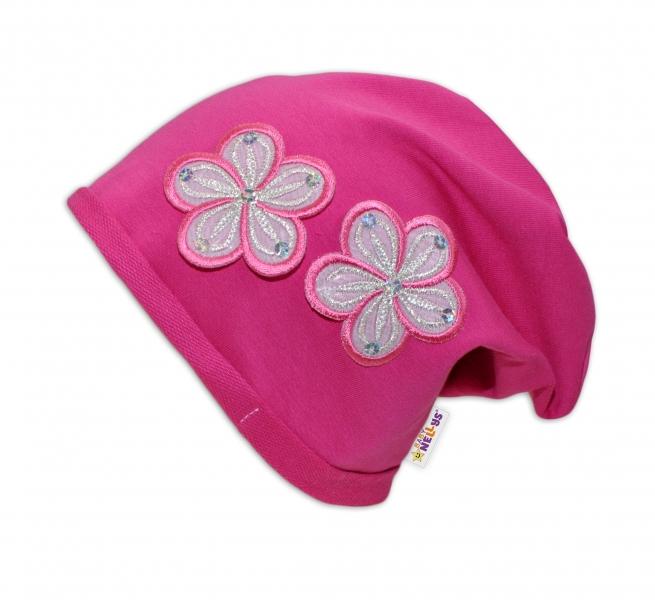 Bavlnená čiapočka Kvetiny Baby Nellys ® - tm. ružová-48/52 čepičky obvod