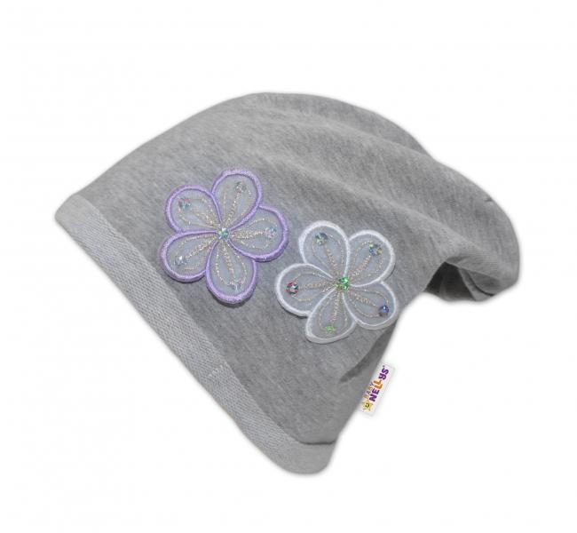 Bavlnená čiapočka Kvetiny Baby Nellys ® - sivá