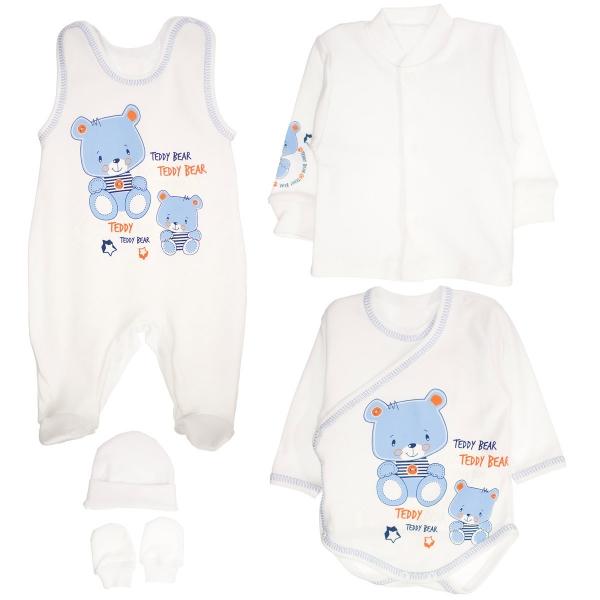Súpravička do pôrodnice 5D - medvedíky Teddy - bielá-50 (0-1m)