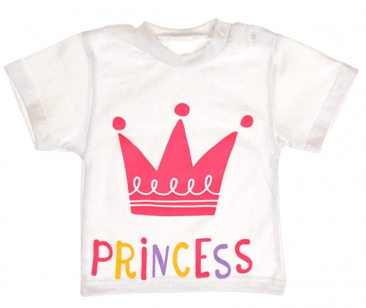 Bavlnené tričko vel. 86 - Princess korunka - biele-86 (12-18m)