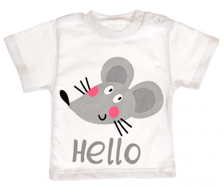 Bavlnené tričko vel. 98 - Myška Hello - biele-98 (24-36m)