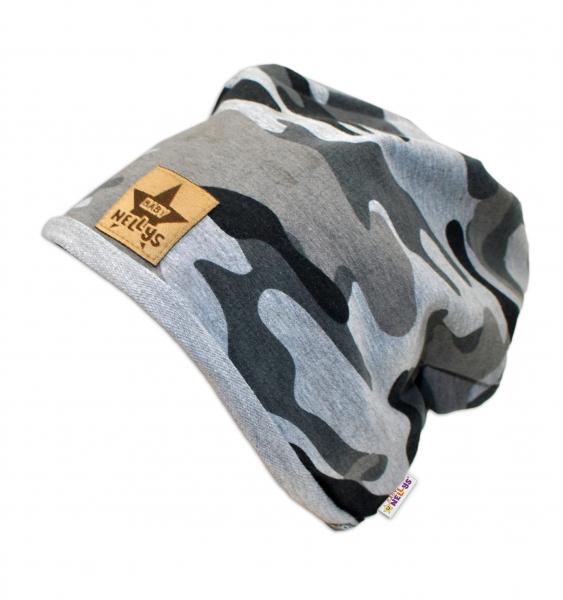 Bavlnená čiapočka Army Baby Nellys ® - sivá-48/52 čepičky obvod
