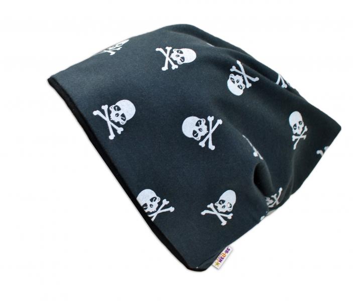 Bavlnená čiapočka s lebkami Baby Nellys ® - čierna-50/52 čepičky obvod