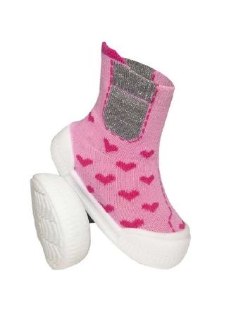 Ponožtičky s gumovou šľapkou - Srdiečka ružové, veľ. 21-vel. nožky 21
