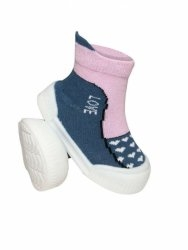 Ponožtičky s gumovou šľapkou - Srdiečka tm. sivá, ružová, veľ. 22-vel. nožky 22