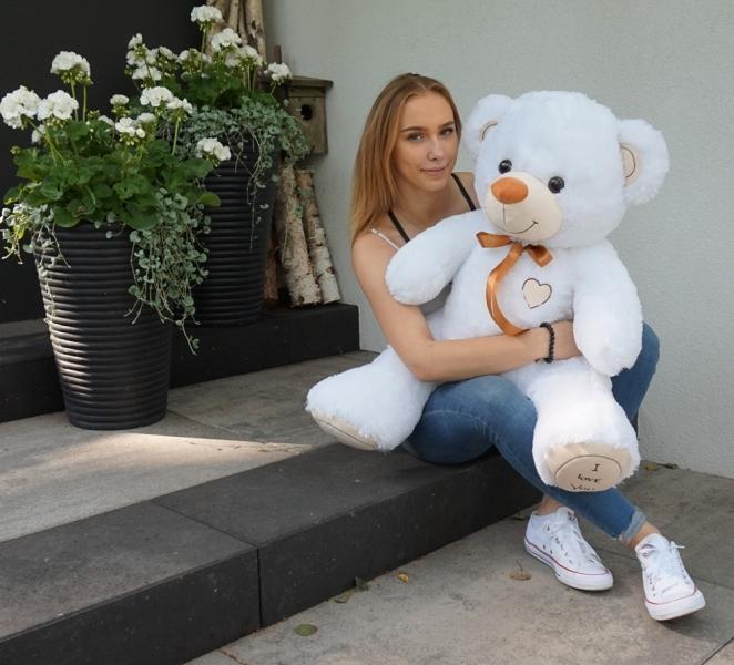 Baby Nellys Plyšový macko 120cm - biely