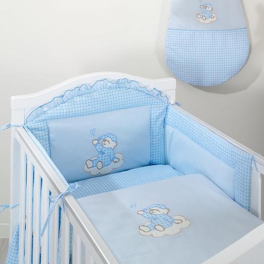 Luxusný 2 dielny set do postieľky Mráčik modrý kocka, 120x90 cm