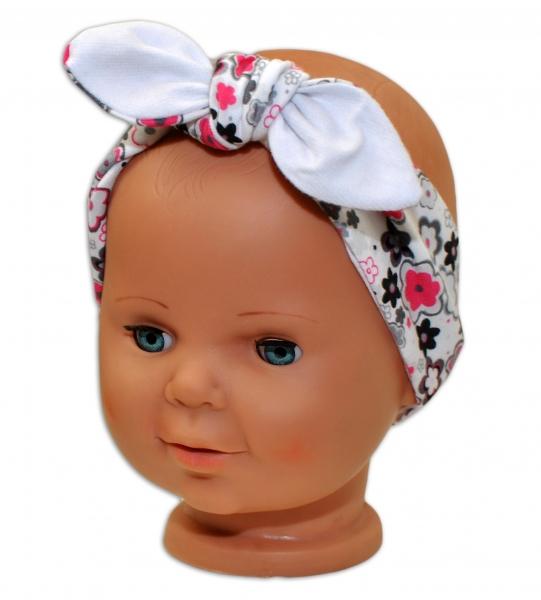 Baby Nellys Čelenka, šatka na zaväzovanie uzlík, uni - biela s kvetinkami-uni