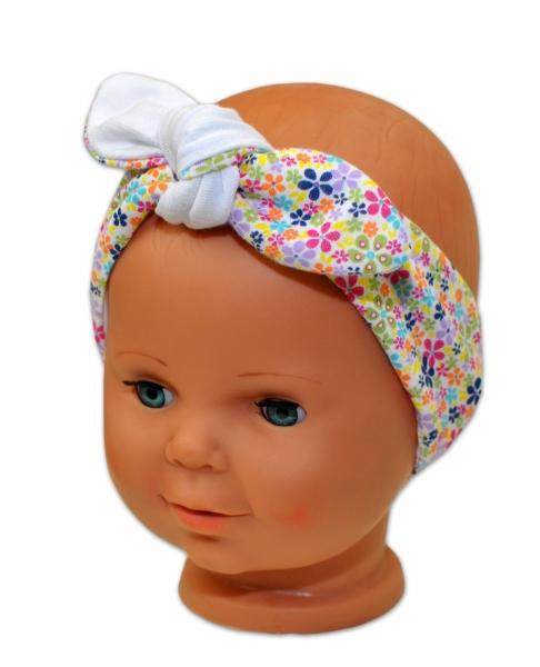 Baby Nellys Čelenka, šatka na zaväzovanie uzlík, uni - biela s farebnými kvetinkami-uni