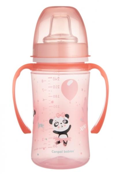 Canpol babies Nevylévací hrnček EasyStart - Panda - ružový