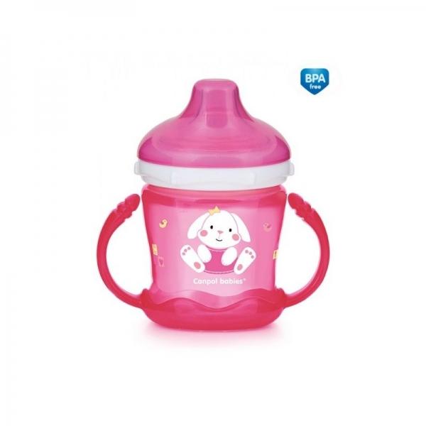 Canpol babies Nevylévací hrnček Sweet Fun - Zajačik - ružový