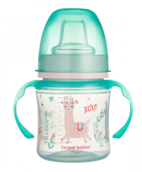 Canpol babies Nevylévací hrnček EasyStart - Zvieratká - zelená