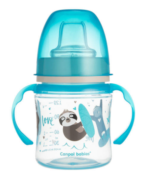 Canpol babies Nevylévací hrnček EasyStart - Zvieratka - modrý