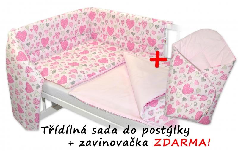 3-dielna sada mantinel s obliečkami + zavinovačka zadarmo - Srdiečka ružová, ružová, 120x90 cm