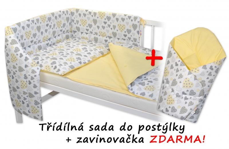 3-dielna sada mantinel s obliečkami + zavinovačka zadarmo - Srdiečka krém, žltá, 120x90 cm