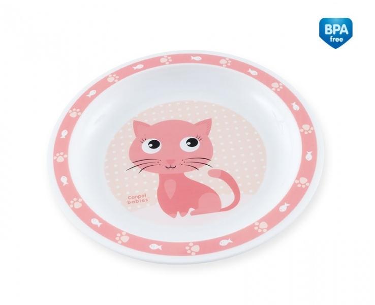Plastový tanierik Mačička - ružový