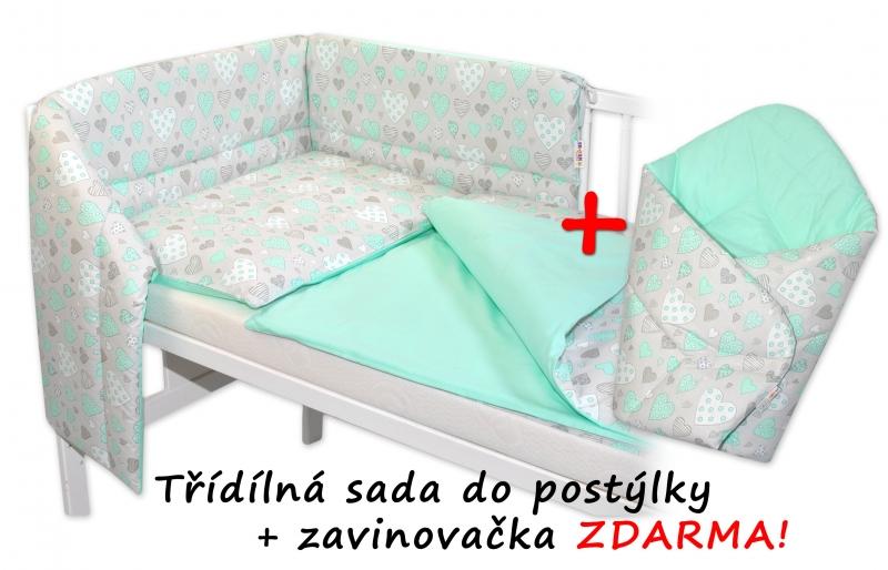 3-dielna sada mantinel s obliečkami + zavinovačka zadarmo - Srdiečka mätová, mäta, 135x100 cm
