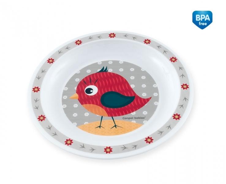 Plastový tanierik Ptáček - sivý