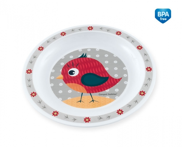 Canpol babies Plastový tanierik Ptáček - sivý