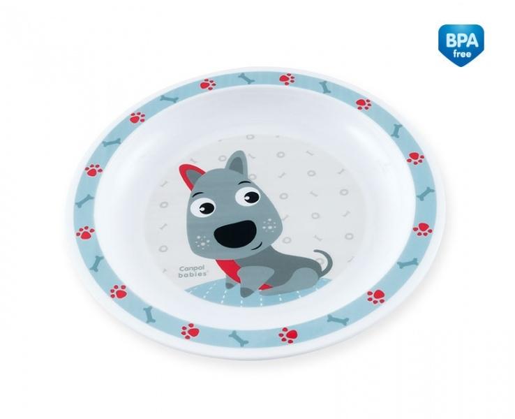 Canpol babies Plastový tanierik Psík - modrý