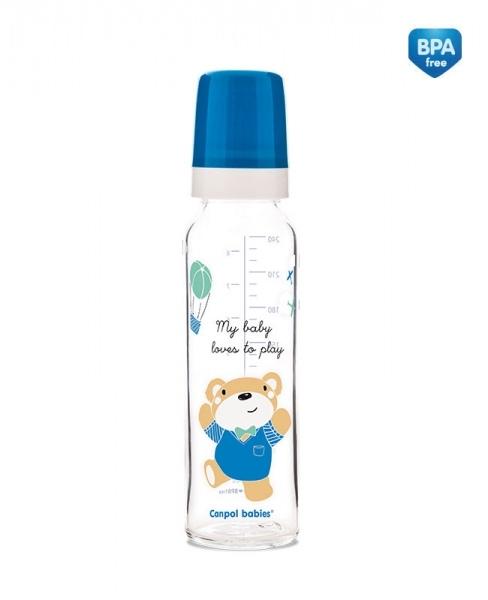 Sklenená fľaštička 240ml Sweet Fun - modrá