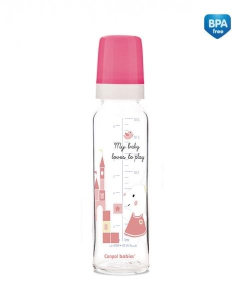 Canpol babies Sklenená fľaštička 240ml Sweet Fun - ružová
