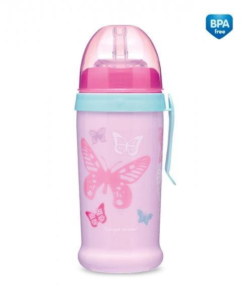 Športová nekvapkajúci fľaša Butterfly - ružová