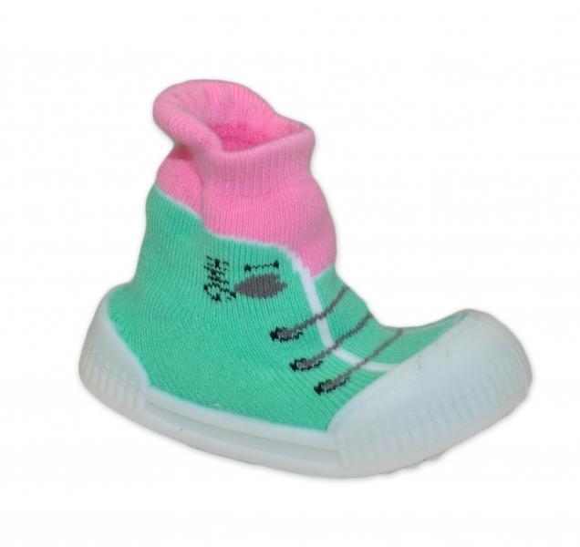 Ponožtičky s gumovou šľapkou - Tenisky - sv. zelená, ružová, veľ. 21